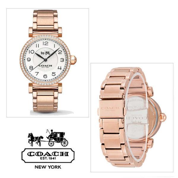 COACH玫瑰金水鑽數字鋼帶女錶(14502398)