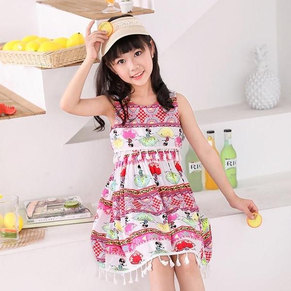 女童連身裙洋裝夏裝童裝韓版ZYJY新款流蘇洋氣公主裙中大童時髦裙子夏
