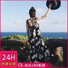 梨卡★現貨 - 夏日度假沙灘印花雪紡顯瘦連身裙連身長裙沙灘裙洋裝C6265