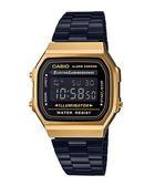 附台灣卡西歐保卡才是公司貨【時間光廊】CASIO 卡西歐 簡約電子錶 方型 鋼帶 A168WEGB-1B