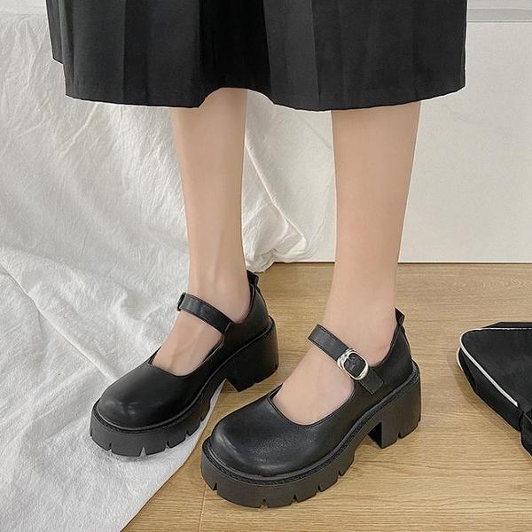 日系小皮鞋女英倫復古厚底jk制服百搭學院黑色中跟瑪麗珍高跟單鞋 艾瑞斯