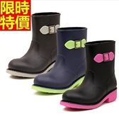中筒雨靴-韓版簡約糖果色撞色女雨鞋3色66ak44【時尚巴黎】