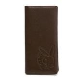 PLAYBOY- 翻蓋長夾  rabbithead系列-咖啡色