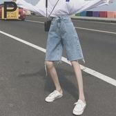 闊腿寬鬆直筒高腰牛仔五分短褲女士夏季2020新款顯瘦百搭中褲褲子 酷男精品館