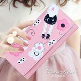 長款錢夾日韓版學生可愛貓咪卡通長款錢包女多卡位兩折拉錬搭扣女士小錢夾 果果輕時尚