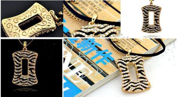 斑馬紋双鏈長款項鍊