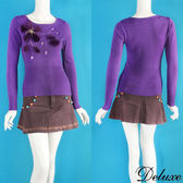 【Deluxe】閃耀浪漫毛絨花朵圖騰針織長袖上衣(紫)