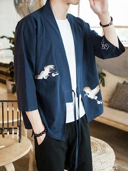 唐裝/漢服-中國風唐裝亞麻禪修防曬套裝男士夏季短袖漢服開衫浮世繪和服道袍  東川崎町