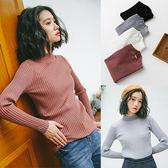針織上衣韓版學院風素面高領修身顯瘦針織衫上衣女裝【03B1430】
