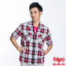BOBSON 男款格紋短袖外套(紅230...