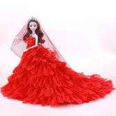 芭比娃娃穿婚紗的公單個超大裙拖尾女孩新娘婚紗生日 nm2011【VIKI菈菈】