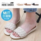[Here Shoes]MIT台灣製 2.5cm涼鞋 優雅氣質編織一字寬帶 皮革方頭平底涼拖鞋-KG414