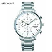 三宅一生ISSEY MIYAKE C系列 NYAD002Y 雅痞中性三眼鋼帶錶x42mm白 公司貨|名人鐘錶高雄門市