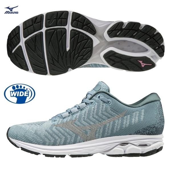 MIZUNO WAVE RIDER WAVEKNIT 3 女鞋 慢跑 路跑 3E 寬楦 編織 耐磨 DROP 12mm 灰【運動世界】J1GD193139