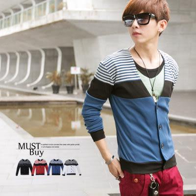 柒零年代【N8161J】韓風本季潮流穿搭漸層感條紋撞色拼接棉罩衫外套(GS2015)Sense