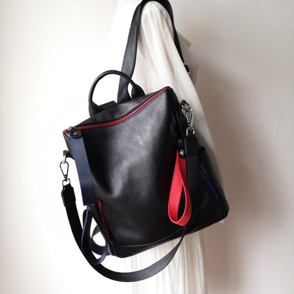 後背包-真皮-黑色大容量多用途牛皮女側背包73yi7【巴黎精品】