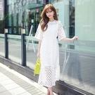 吊帶裙(套裝)-短袖鏤空蕾絲修身收腰女背帶裙2色73nj22【巴黎精品】