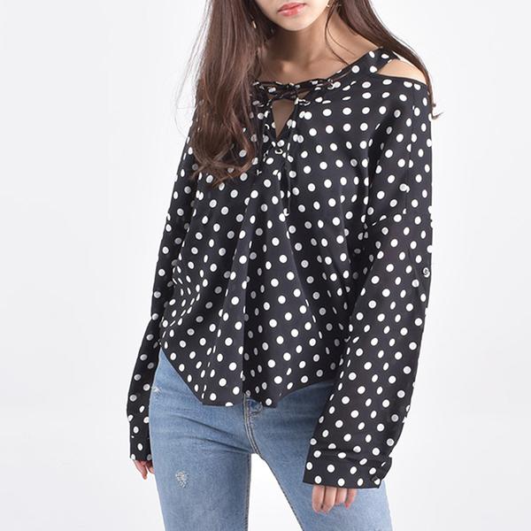 東京著衣-Felt maglietta-前綁帶後領V型設計雪紡長袖襯衫(Z200010)