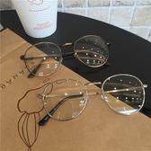 蔣六六 韓版ulzzang原宿金屬框學院平光鏡圓形文藝男女近視眼鏡架