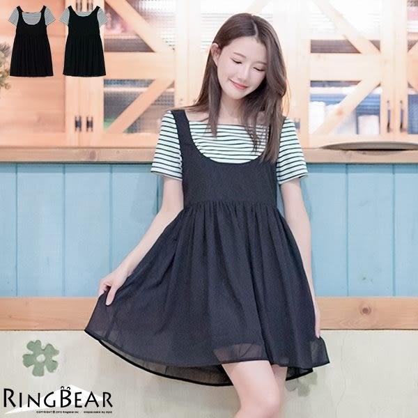 假兩件--輕鬆甜美假兩件方形領雪紡飄逸洋裝(黑XL-5L)-D334眼圈熊中大尺碼★