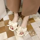 一字拖女外穿平底防滑夏季蝴蝶結海邊沙灘鞋【慢客生活】