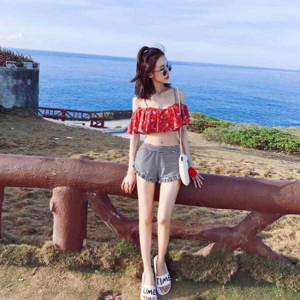 泳衣女可愛日系分體保守韓國2019新款溫泉游泳衣遮肚性感比基尼