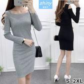 【V9267】shiny藍格子-美型好感.修身彈力露肩長袖針織連衣裙