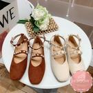 平底鞋 娃娃鞋 珍珠點綴雙層皮帶扣 懶人鞋 芭蕾舞鞋*Kwoomi-A94