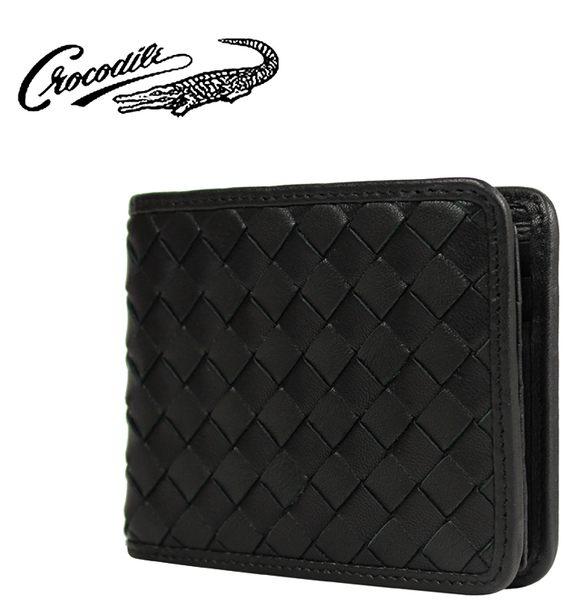 【橘子包包館】Crocodile 鱷魚 編織系列 真皮 7卡相片夾 男用短夾 0103-60021 黑色