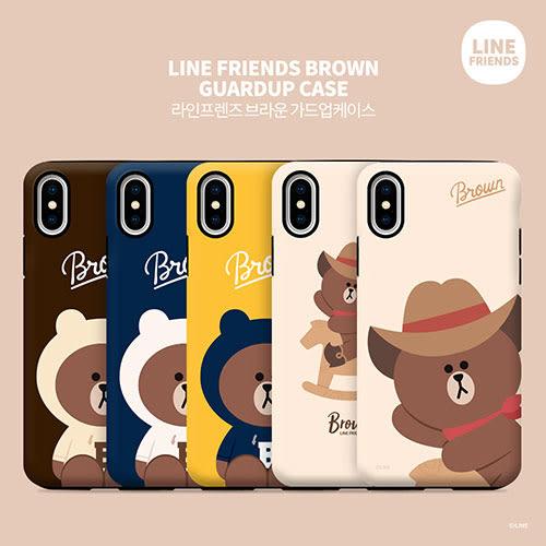 LINE FRIENDS 牛仔熊大 雙層防摔 手機殼│iPhone 6 6S 7 8 Plus X XS MAX XR│z8310