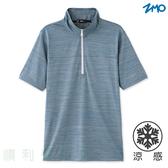 台文ZMO 男款涼感立領短袖POLO衫 AX597 灰藍色 排汗衣 立領上衣 短袖T 涼感衣 運動上衣 OUTDOOR NICE