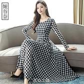 格子雪紡洋裝女2020年春裝秋季裝新款顯瘦遮肚減齡長袖長款裙子 快速出貨