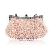 晚宴包-鏈條鑲鑽典雅串珠時尚女手拿包3色73rk25[時尚巴黎]