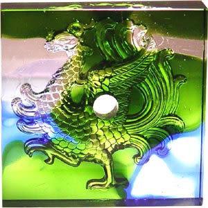 鹿港窯~居家開運琉璃磚【四靈-朱雀(陰雕)】附古法製作珍藏保證卡◆免運費送到家