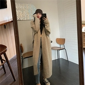針織外套毛衣外套女開衫中長款秋冬新款港味慵懶風復古上衣針織衫大衣 優拓