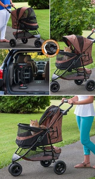 寵物家族-美國 Pet Gear- 單手收無拉鍊華麗寵物推車PG8250NZ