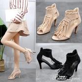 涼鞋女夏新款中跟流蘇交叉綁帶高跟鞋細跟魚嘴鞋歐美夏季女鞋 范思蓮恩