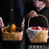 日式手工木片編織收納籃創意木片籃麵包籃水果蔬菜籃子野餐儲物藍