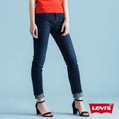 Levis 女款 711 中腰緊身窄管牛仔褲 / 深藍微刷白 / 彈性布料