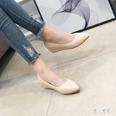 OL工作鞋女內增高皮鞋職業中跟軟底防滑尖頭坡跟單鞋平底鞋豆豆鞋 LR22446『麗人雅苑』