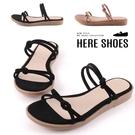 [Here Shoes] 限時特價 2.5cm拖鞋 皮革/絨面細帶扭結 圓頭平底涼拖鞋 MIT台灣製-KT7381