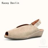 全真皮涼鞋 時尚舒適V口魚口鞋 女鞋子【Kacey Devlin 】