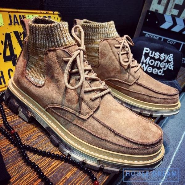 馬丁靴男 馬丁靴男士工裝靴軍靴英倫風復古中幫男靴子秋季高筒男鞋雪地短靴
