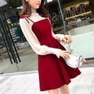 兩件式洋裝套裝裙秋冬過年新款裙子紅色A字打底連身裙女拜年衣服 JY17727【Pink中大尺碼】