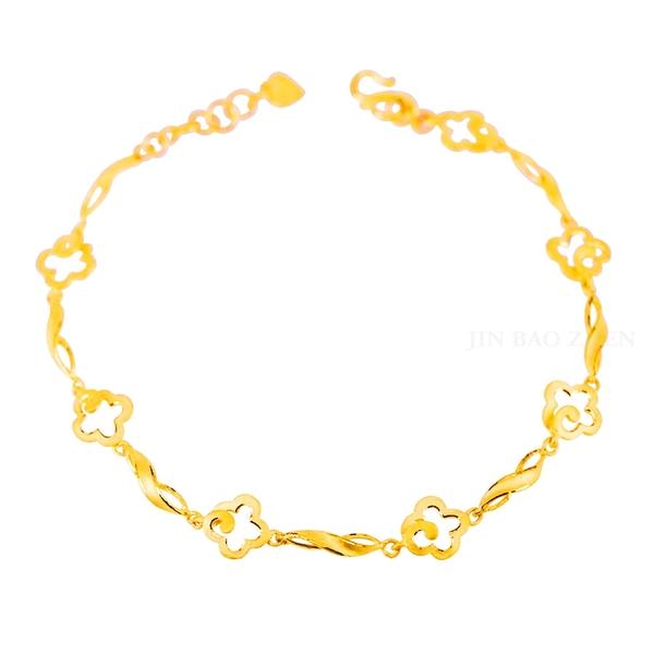 心花開-花朵黃金手鍊