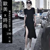 克妹Ke-Mei【AT53456】歐美暗黑BF風辛辣修身開叉中長連身洋裝