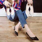 3色 低跟鞋 日韓漆皮白色小跟單鞋女3cm尖頭淺口側空細跟中低跟瓢鞋休閒四季 巴黎時尚