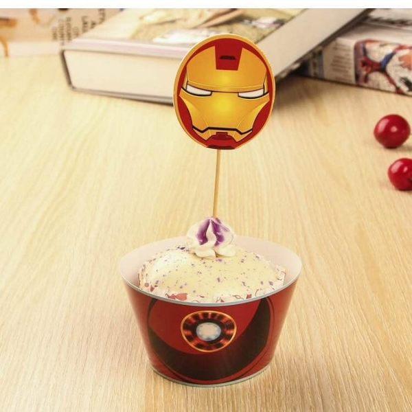 【發現。好貨】烘焙包裝紙杯蛋糕 蛋糕裝飾 插牌圍邊+插牌裝飾 派對用品 【鋼鐵人】