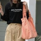 韓版潮流大包包 大容量女士托特包 時尚女生單肩包 簡約休閑格子托特包 小清新褶皺帆布女包包