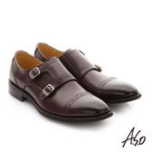 A.S.O 職人通勤 牛皮鬆緊帶皮鞋-咖